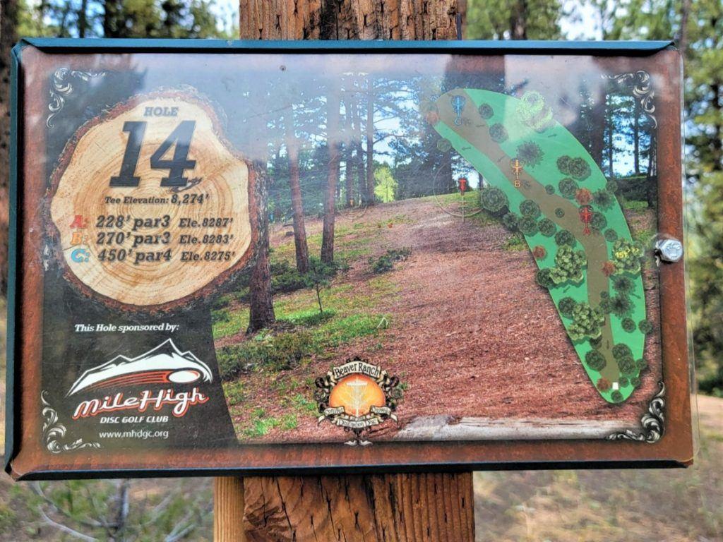 beaver ranch disc golf sign 14th hole