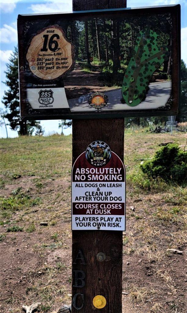 16th sign beaver ranch disc golf course