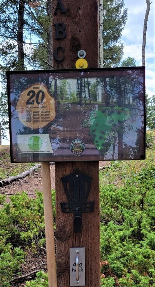 20th tee sign beaver ranch disc golf course