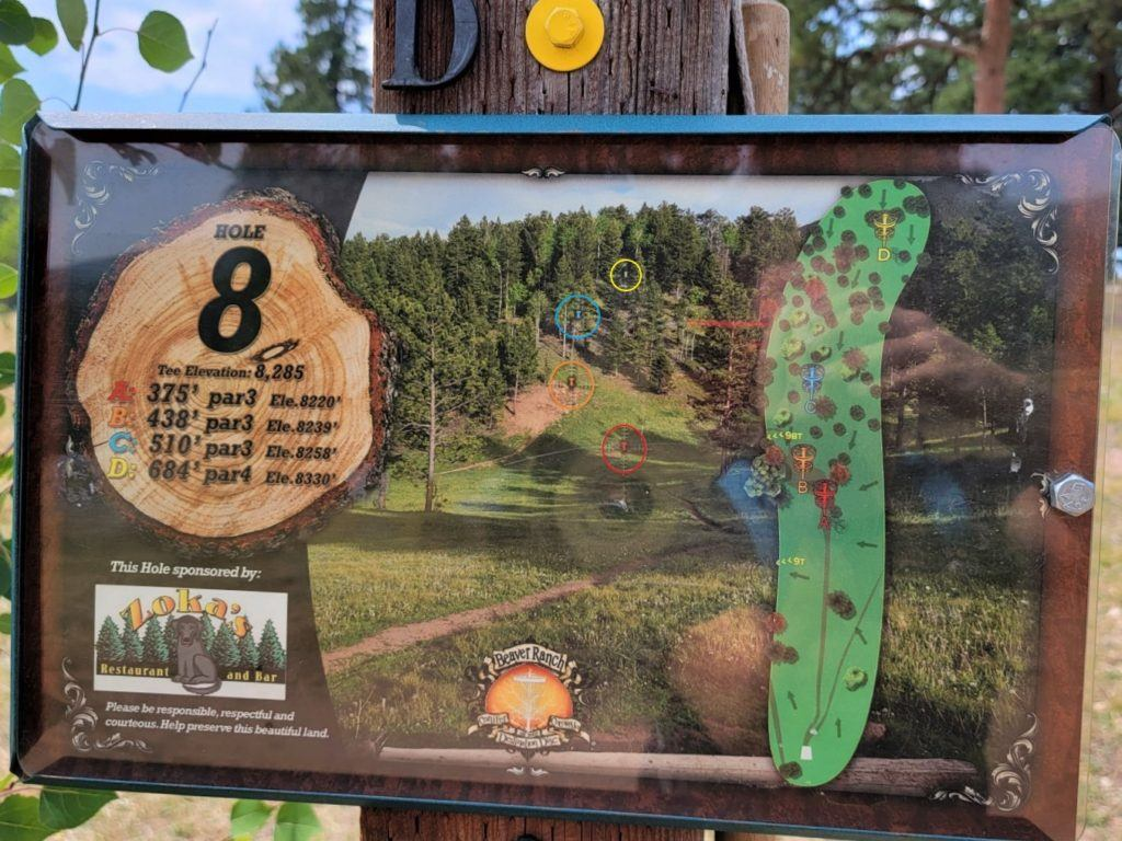 Hole 8 sign of beaver ranch disc golf
