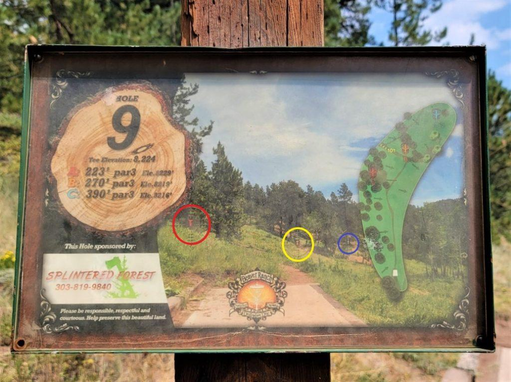 Hole 9 sign of beaver ranch disc golf
