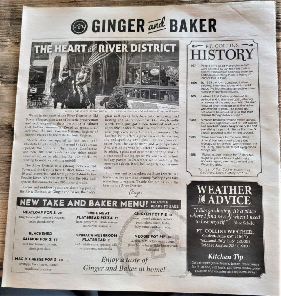 ginger and baker front menu